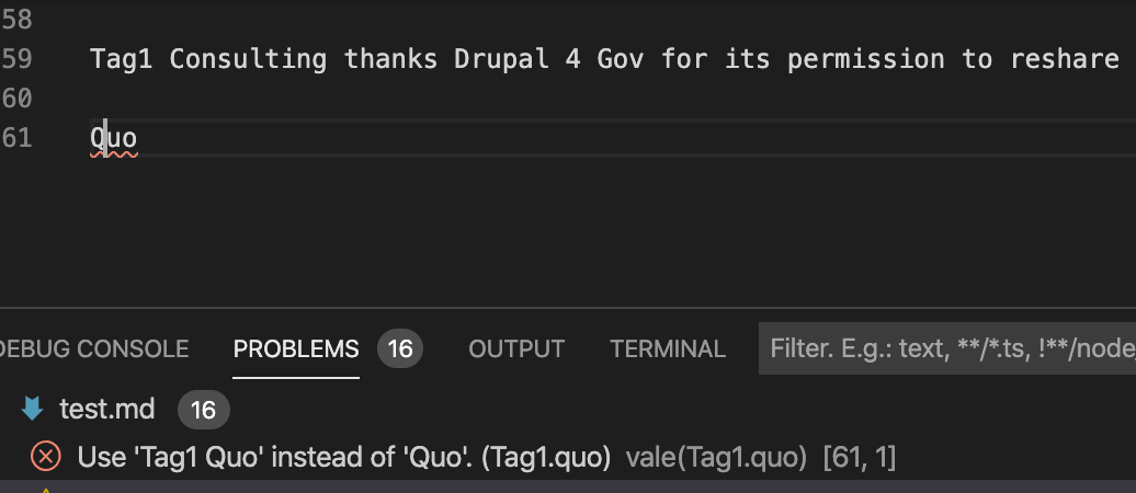 A test for Tag1 Quo, showing an error the incorrectly formatted name.